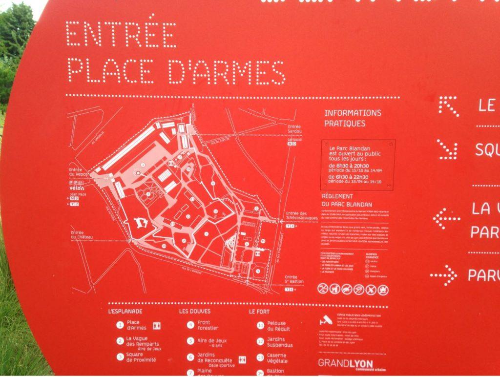 Plan du parc Blandan